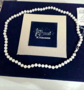 Ожерелье с натуральным жемчугом белого цвета