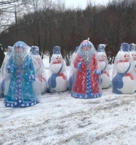Большой пластиковый Дед Мороз ручной работы.