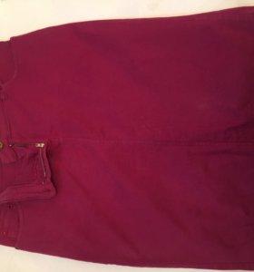 Юбка джинсовая бордо