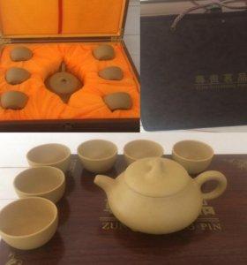 Чайный набор (сервиз) глина,чайник, 6 чашек