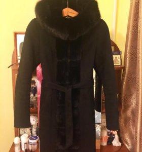 Дубленка с натуральным мехом норки, пальто