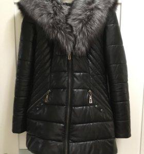 Зимняя куртка Эко-кожа, мех чернобурка