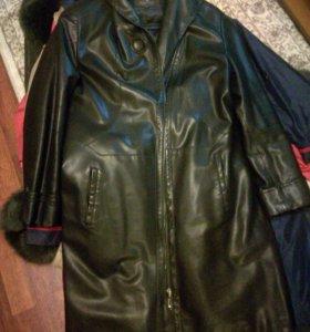 Пальто экокожа, 52 размер