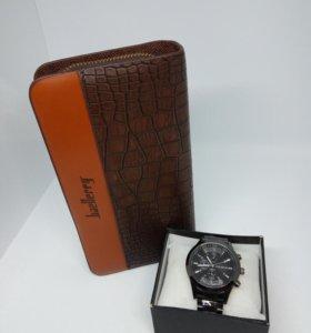 Мужской кошелек + наручные часы в подарок