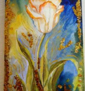 Пано Тюльпан холст и янтарная крошкп