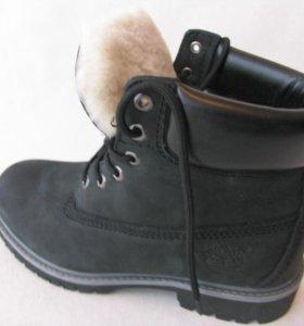 Ботинки Зимние Timberland Мех Нубук Чер.Св.П.41