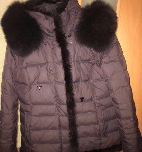 Куртка с натур мехом чернобурки