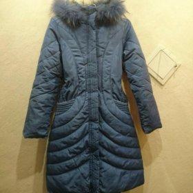 Пуховик зим. синий, рост 158 см