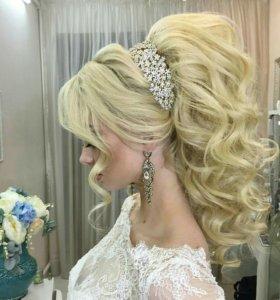 Причёски вечерние и свадебные,макияж.