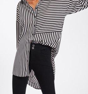 Асимметричная рубашка в полоску.