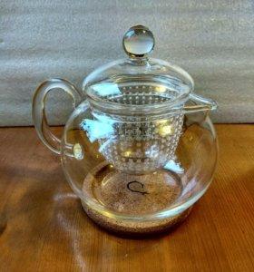 """Стеклянный чайник """"Пион"""" с заварочной колбой."""