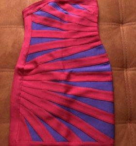 Платье бандажное красное