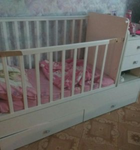 Кроватка детская маятник+пеленальный комод в подар