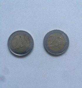 2 юбилейные монеты по 2 евро