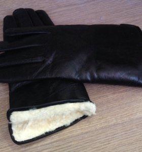 Мужские перчатки натуральная кожа и мех