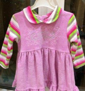 Платье велюровое, р74-80