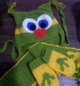 Шапка, шарфик, перчатки