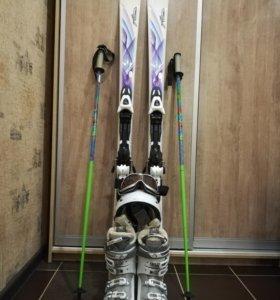 Горные лыжи Atomic + ботинки Salomon + палки Cybe