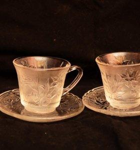 Две чайные пары,стекло