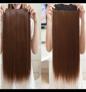 Волосы на заколках, шатен 60 см