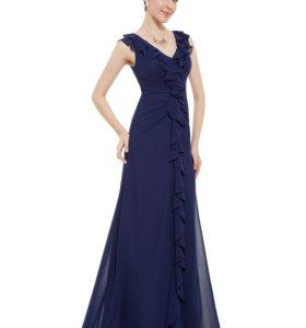Новое темно-синее шифоновое платье с оборками
