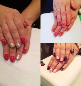 Покрытие ногтей гель-лаком + маникюр