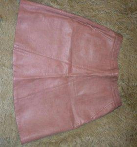 Юбка розовая кож.зам