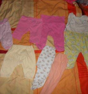 Пакет ползунков и штанишек девочке