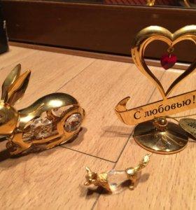 Фигурки с золотым напылением 24К (3 шт)