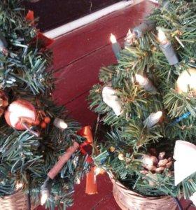 Ёлка новогодняя с гирляндой