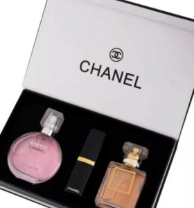 Подарочный набор Chanel 3 в 1 (парфюмерия ,помада)