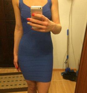 Платье бандажное синее