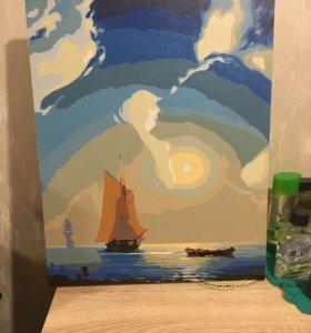 Картина нарисована по номерам краска акрил 40на50