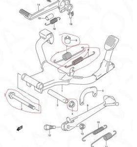 Части подножки от сузуки GSF650