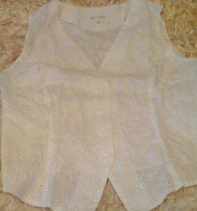 блуза белая хлопок 48 размер новая