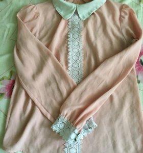 блузка пудровая