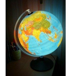 Глобус физический с подсветкой