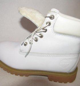 Ботинки Зимние Timberland Мех Кожа Белая 37