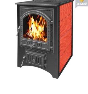 Печь - камин Везувий красный с плитой 12 кВт(205)
