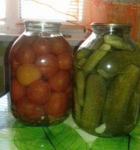 Огурцы, помидоры, капуста
