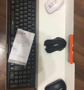 Клавиатура с мышкой комплект + 2 мышки