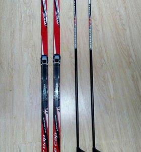 Комплект: лыжи, крепления, ботинки, палки