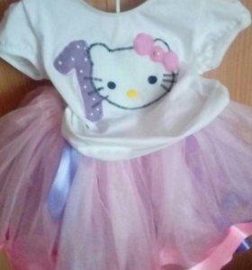 Костюм 'юбка-футболка' на 1 годик Китти