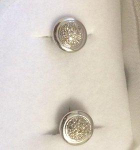 Серьги-пуссеты (гвоздики) белое золото с брилл.