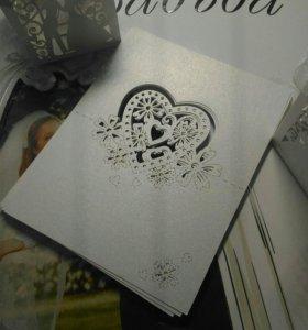 Приглашения на свадьбу, рассадочные карточки,14 шт