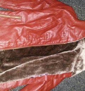 Новая Коженая зимняя куртка