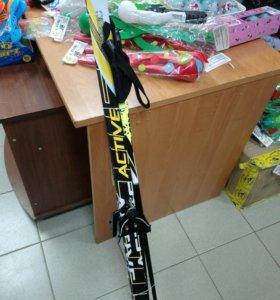 Лыжи 130 си комплект с креплением 75 мм и палками