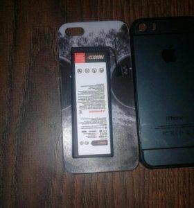 Аккумулятор на iPhone 5 + два чехла
