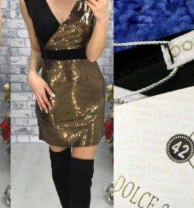 Платье золотое с паетками , 44-46