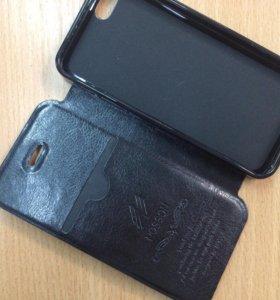 Кожаный чехол книжка для IPhone 5/5s черного цвета